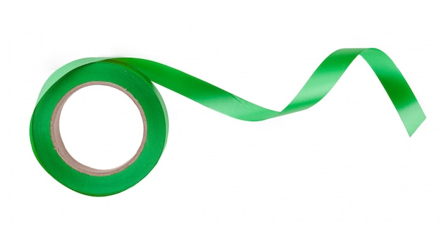 Green ribbon border isolated on white  close up