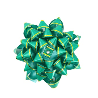 Green ribbon bow isolated in white background.