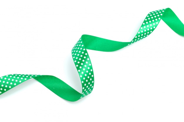A green ribbon isolated on white
