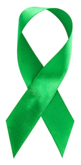 緑のリボン。脊柱側弯症、メンタルヘルスおよびその他、白で隔離の意識のシンボル