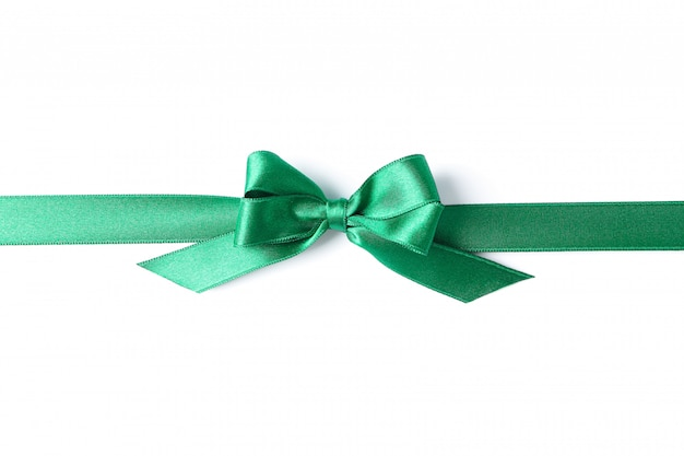 Green ribbon with bow isolated on white