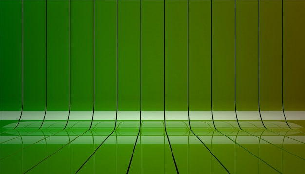 Green ribbons stage background 3d illustration.
