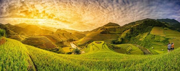 베트남 mu cang chai의 계단식 논에 녹색 논
