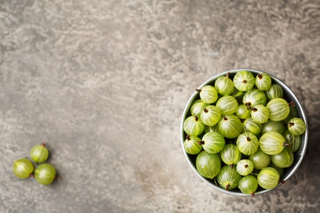 Green ripe gooseberries