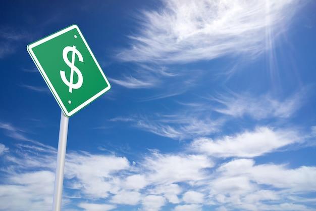 푸른 하늘 배경 안에 달러 기호로 녹색도로 표지판