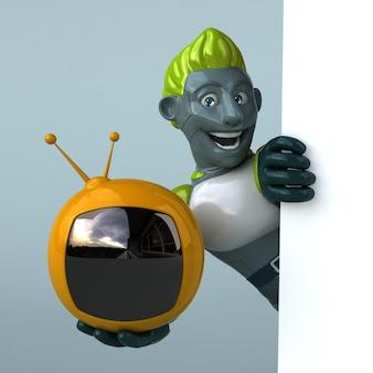 緑のロボット3dイラスト