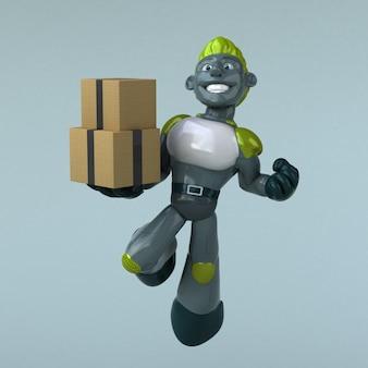 녹색 로봇 -3d 일러스트