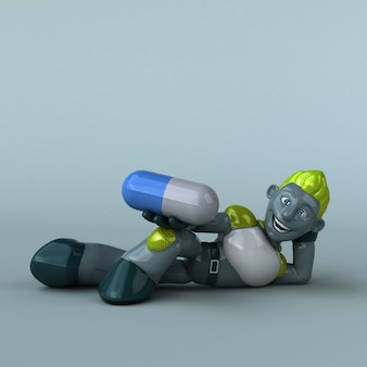 Green robot 3d illustration