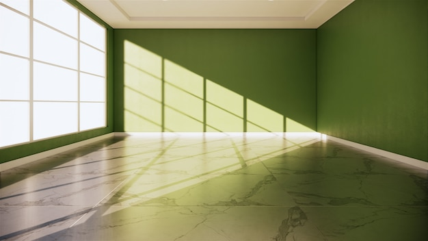 Green room interior - empty room of natural stone granite floor.3d rendering