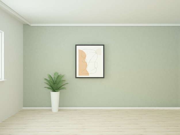 Зеленая комната с большим плакатом и пальмой