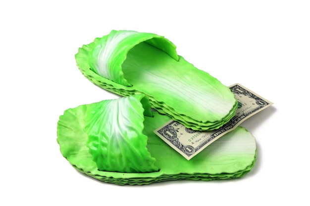 Green rubber slippers in the style of cabbage leaves