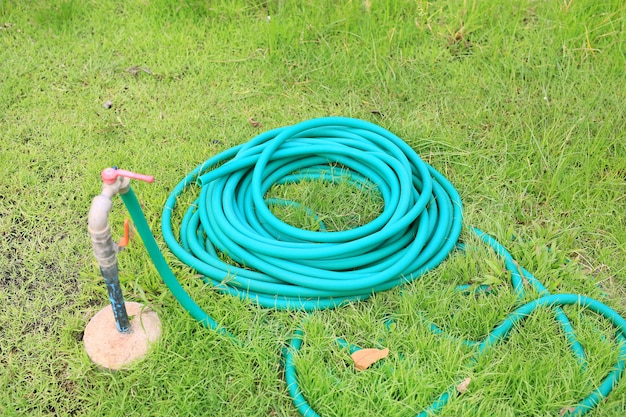 Green rubber tube for watering plants in the garden.