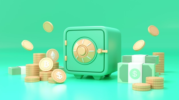 Green safe box with bitcoin cryptocurrency coins and stacks of dollar cash font view on green background. 3d render