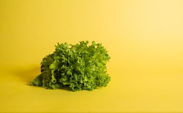 テキスト用のスペースと黄色の背景にグリーンサラダのクローズアップ。