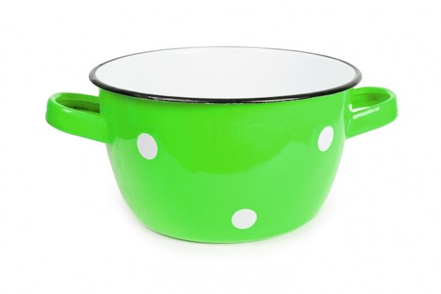 Green saucepan with white spots vintage isolated