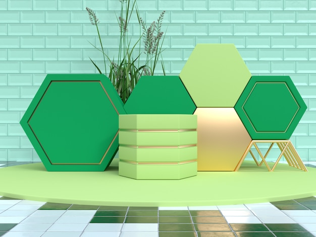 Green scene geometric shape set podium 3d rendering