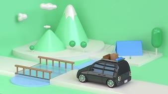 Green scene mountain tree black car