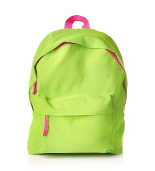 Green school bag isolated on white