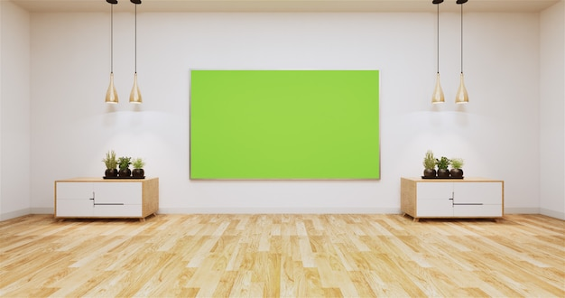 Green screen and cabinets on empty room