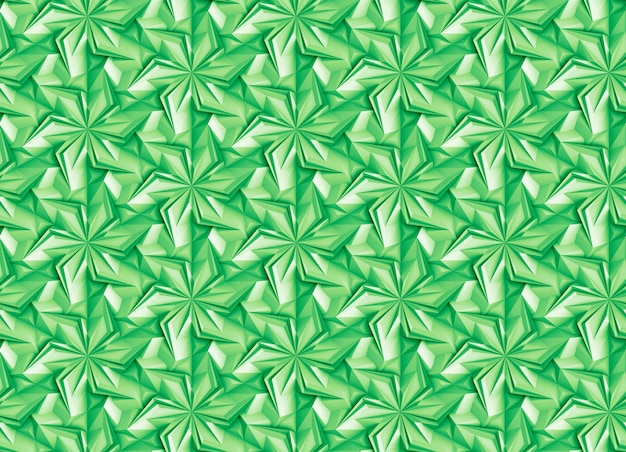 Green seamless pattern geometric with rotating elements - petals, based on a hexagonal grid