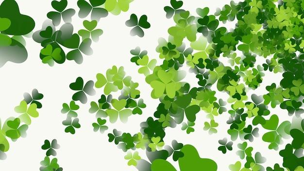 Зеленые трилистники на фоне блеска, праздник дня святого патрика. роскошный и элегантный стиль 3d иллюстрации для праздника
