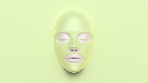 Green sheet mask on green background 3d render