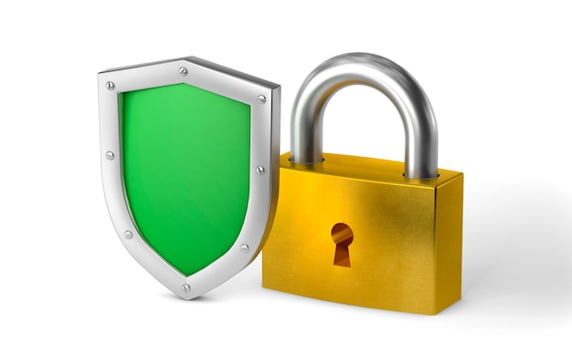 Green shield and gold lock concept double protection privacy of information or data isolated