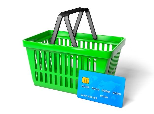 緑の買い物かごと白い背景で隔離の青いクレジットカード。 3dレンダリング。