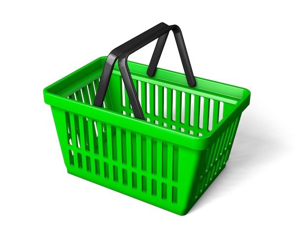 緑の買い物かごが回転します。白い背景で隔離。 3dレンダリング。