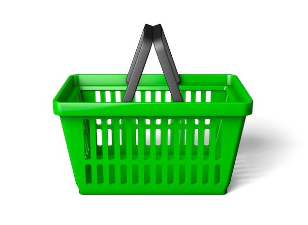 緑の買い物かご片側。白い背景で隔離。 3dレンダリング。