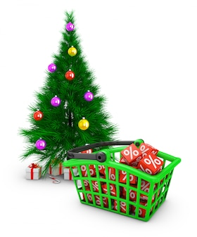 A green shopping basket in which there are red cubes with percentages and a christmas tree.