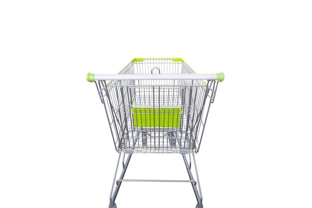 클리핑 경로와 흰색 배경에 고립 된 녹색 쇼핑 카트