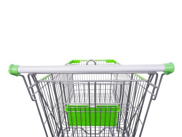 녹색 쇼핑 카트 흰색 절연
