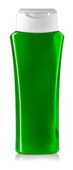Green shower gel bottle isolated on white