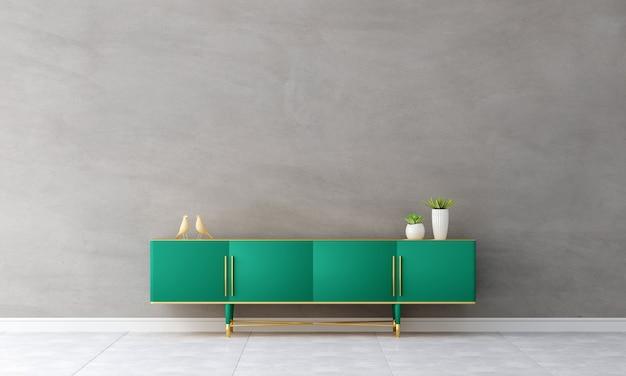 居間の内部の緑のサイドボード