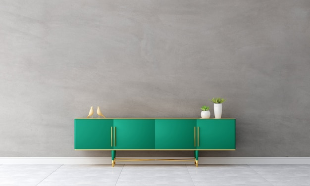 Green sideboard in living room interior
