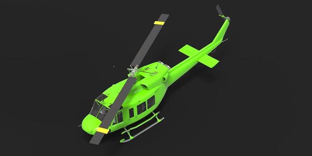 검은 격리 된 배경 3d 그림에 녹색 작은 군사 수송 헬리콥터