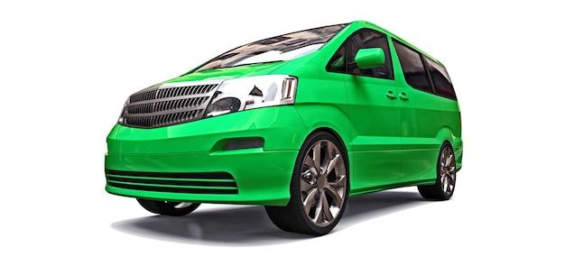 白い背景の3dレンダリングで人々の輸送のための緑の小さなミニバン