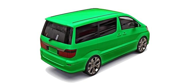 白い背景の上の人々の輸送のための緑の小さなミニバン