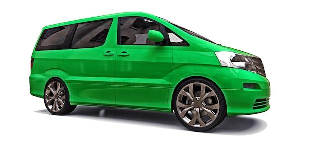 人を運ぶための緑の小さなミニバン。白い背景の上の立体イラスト。 3dレンダリング。