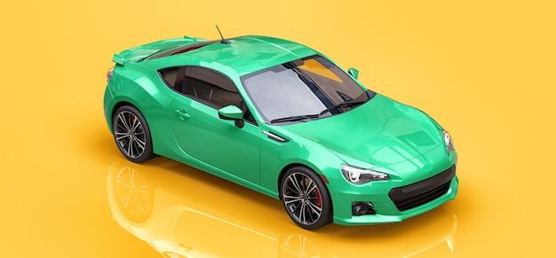 녹색 소형 스포츠카 쿠페. 3d 렌더링.