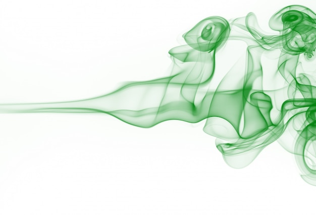 Green smoke motion abstract on white