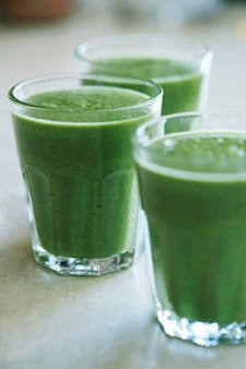 Green smoothie in a glass