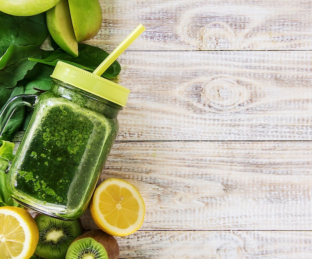 Green smoothies with vegetables and fruits. detox day.