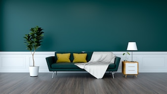 Green sofa and plant with wood cabinet on wood flooring and  green wall  /3d render
