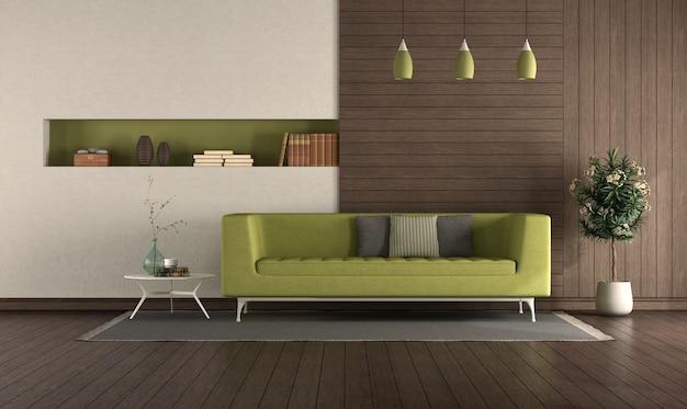 木製パネルとニッチなモダンなリビングルームの緑のソファ-3dレンダリング