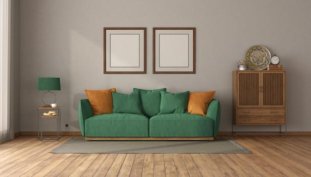 Зеленый диван в винтажном интерьере с буфетом с ящиками и пустой рамкой для фотографий - 3d рендеринг