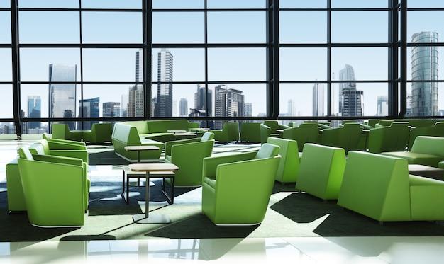 Green sofa on the room