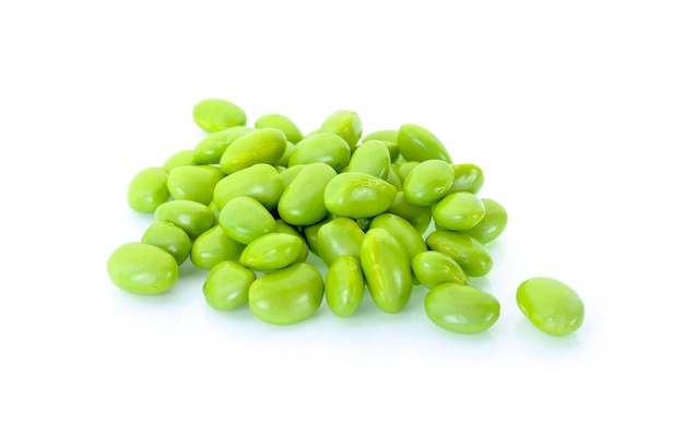 Green soy beans on white