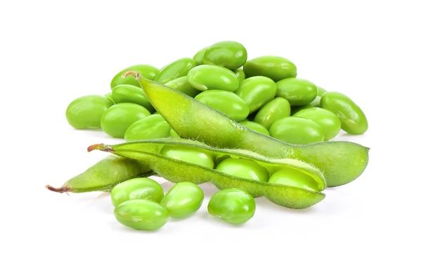 白い背景に分離された緑の大豆